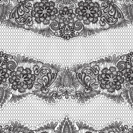 Black Lace seamless pattern with flowers on white...