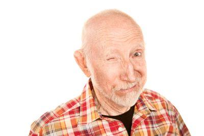 Handsome senior man winking