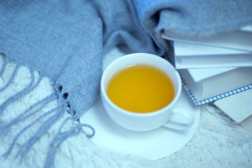 A cup of green tea, books and a woolen warm knitted blanket