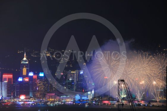Fireworks over bay at hong kong