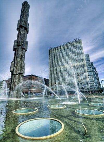 Fountain, downtown Stockholm.
