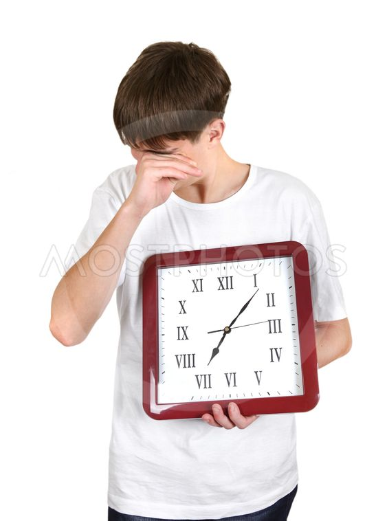Tired Young Man with Big Clock