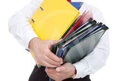 clerk with binders
