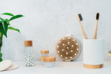 Zero waste bathroom items. Bamboo toothbrushes, natural...