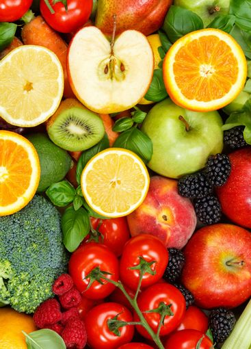 Food background fruits and vegetables collection apples...