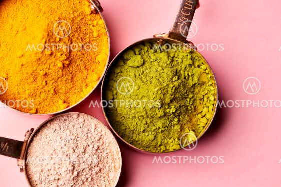 Overhead View Of Natural Beauty And Health Products In...