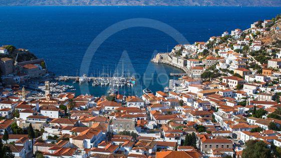 Top view of the Hydra island, Aegean sea, Greece.