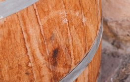 wooden barrel of vine for decoration in the...