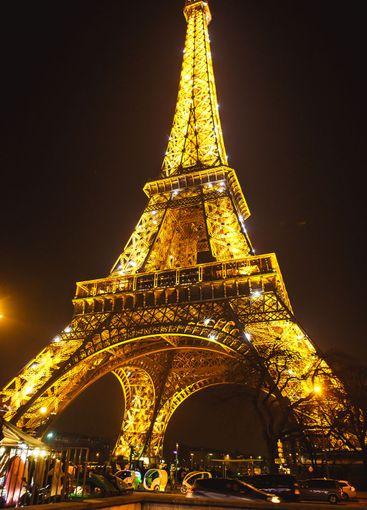 night Eiffel tower. light show. landmark of Paris.