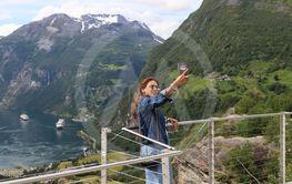 Turist i Geiranger, Norge