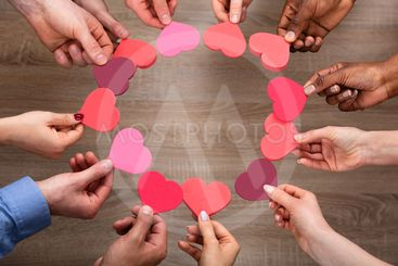 People's Hand Making Circle With Heart Shape