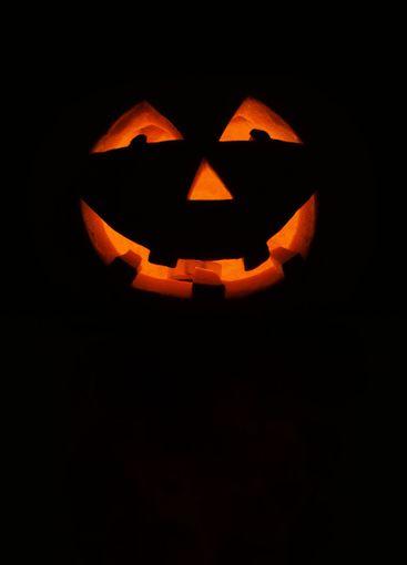 Halloween pumpkin lantern with black background