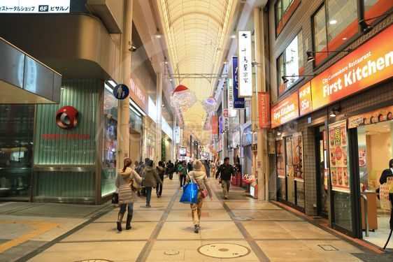 Unidentified people shop at NANBA  Shopping arcade.
