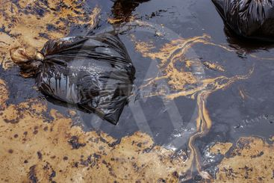 Dirty beach with crude oil.