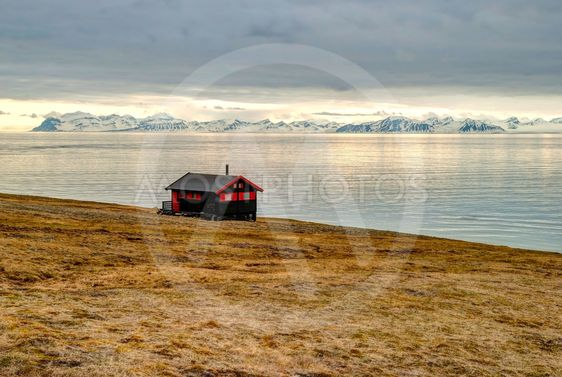 Lonely house at the coast near Longyearbyen, Svalbard