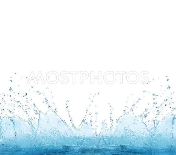 splashing clear water on white background use for...