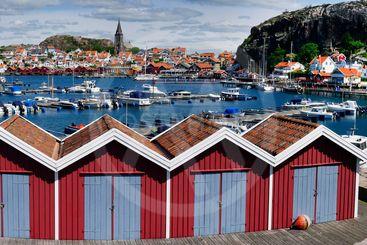 Yachts in a marina at the Swedish fishing village...