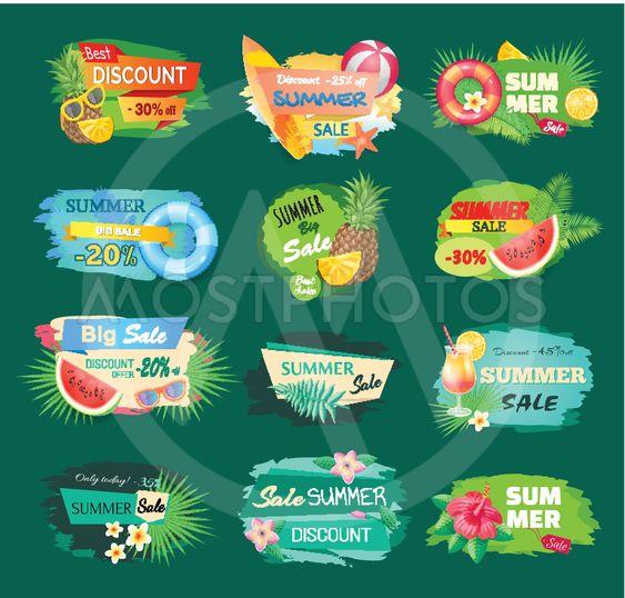 Summer Discount Banners Set Vector Illustration