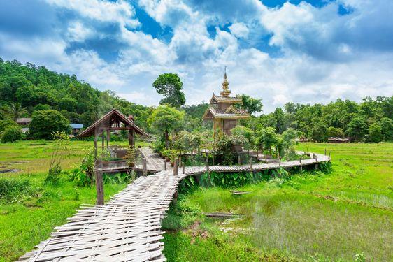 Bamboo bridge Boon Ko Ku So at Pai; Thailand