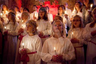 Luciafirande i Eds kyrka, Upplands Väsby, Sverige.