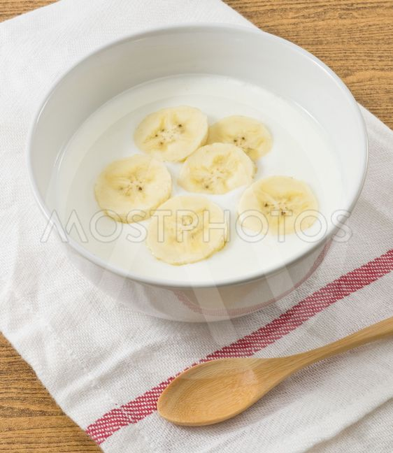 Bowl of Homemade Yoghurt with Organic Banana