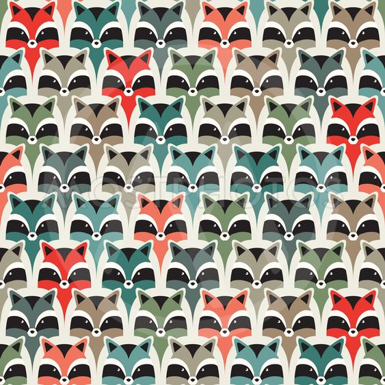 seamless raccoon pattern