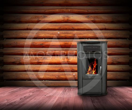 cabin interior backdrop with burning fire