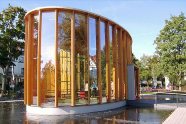 Oval building with glass walls