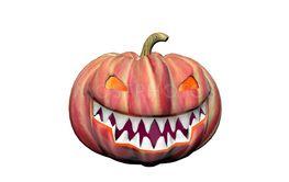 orange and black smiling pumpkin - 3d render