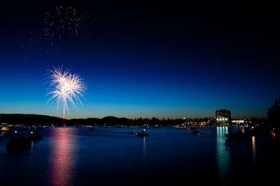 Fireworks over Lake at Twilight