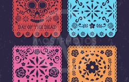 Day of the dead mexican floral skull papercut set