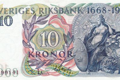 Svensk 10-kronors sedel från 1968