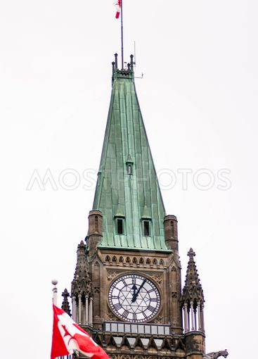 Peace Tower Clock With Canadian Flags