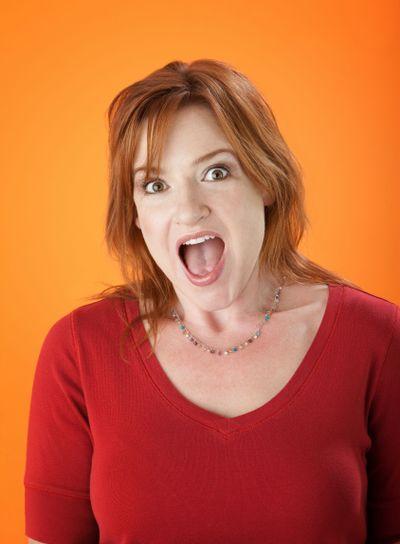 Surprised mature woman