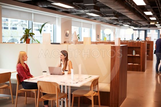 Two Young Businesswomen Having Informal Interview In...