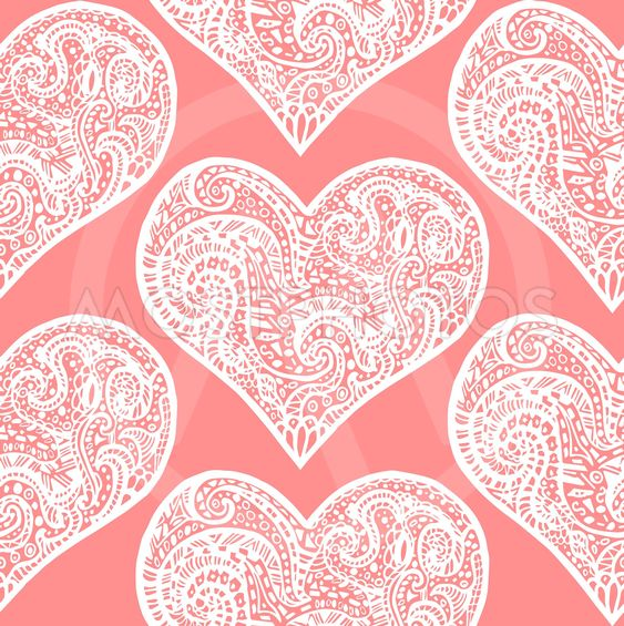seamless pattern from white hand drawing hearts on pink...