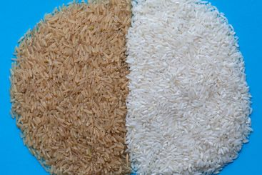 Raw brown and white long rice