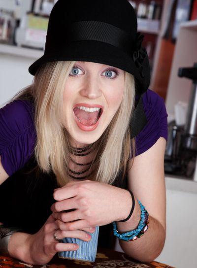 Surprised blonde girl