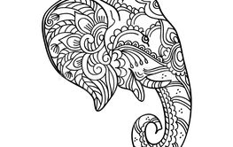 Drawing zentangle elephant, for coloring book for adult...