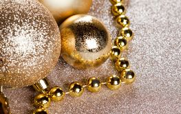 Christmas golden and brown decorations closeup on...