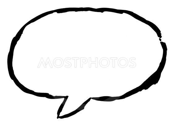 Black ellipse speech bubble icon with watercolor paint...