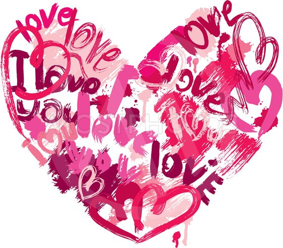 Heart shape is made of brush strokes and scribbles and...