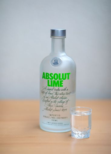 A bottle and glass Absolut Vodka