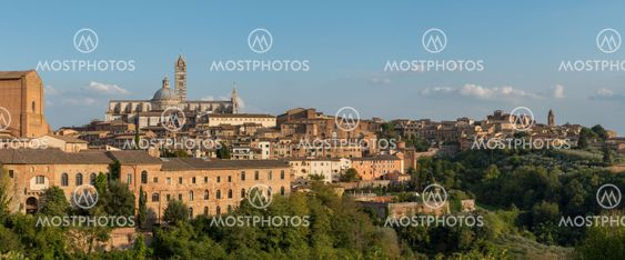 Panoramic cityscape of the historical town of Siena...