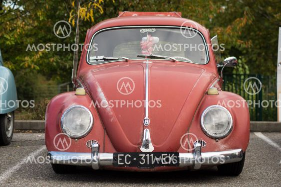 Front view of vintahe Volkswagen beetle parked in the...
