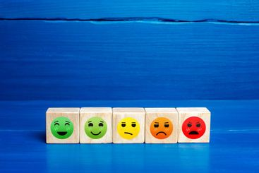 Mood faces from happy to angry on wooden blocks. Concept...