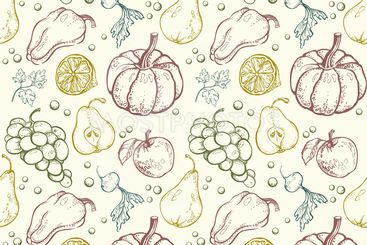 Vegetables and fruits seamless pattern 2