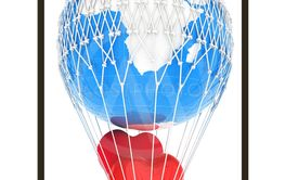 Hot Air Balloon of Earth with heart.  Global wedding...