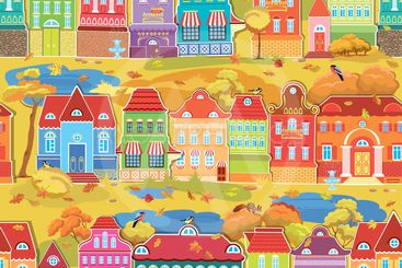 Seamless pattern with decorative colorful houses, fall or...