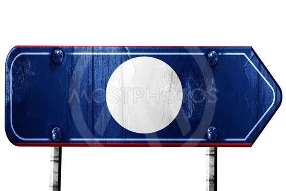 Laos flas, 3D rendering, road sign on white background